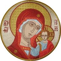 Казанская икона Божией Матери, икона вышитая круглая. Размер 18 х 18 см.