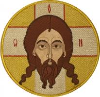 Икона Спас Нерукотворный,  икона вышитая круглая. Размер 18 х 18 см.