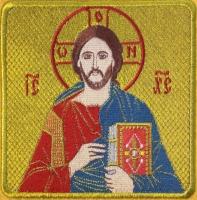 Господь Вседержитель икона вышитая. Размер 12 х 12 см.