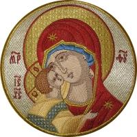 Владимирская икона Божией Матери,  икона вышитая круглая. Размер 18 х 18 см.