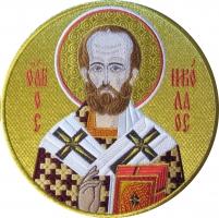 Николай чудотворец, архиепископ Мир Ликийских, святитель, икона вышитая круглая. Размер 18 х 18 см.