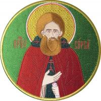 Сергий Радонежский преподобный, икона вышитая круглая. Размер 18 х 18 см.