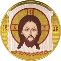 Спас Нерукотворный,  икона вышитая круглая №2. Размер 18 х 18 см.